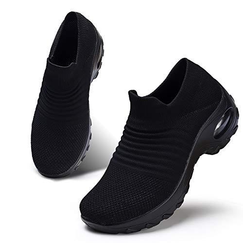 - HKR Womens Walking Tennis Shoes Slip On Light Weight Mesh Platform Nursing Shoes Air Cushion Sneakers All Black 6(ZJW1839quanhei36)