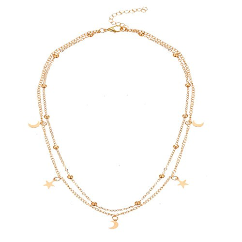 BaubleStar Star Moon Charm Necklace Layering Chain Choker Women Girls