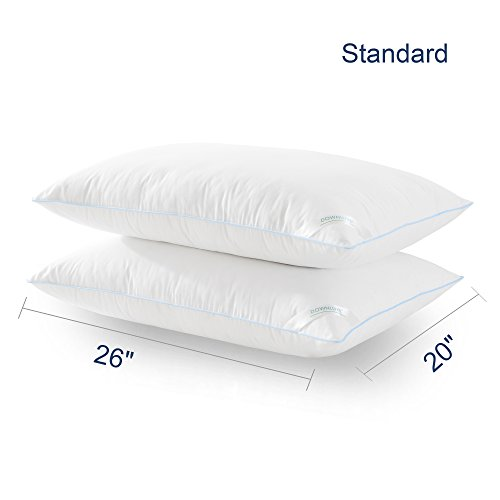 downluxe Set of 2 Hypoallergenic Down Alternative Bed Pillows - Hotel Collection Plush Pillow Firm Density,Standard Size 20x26