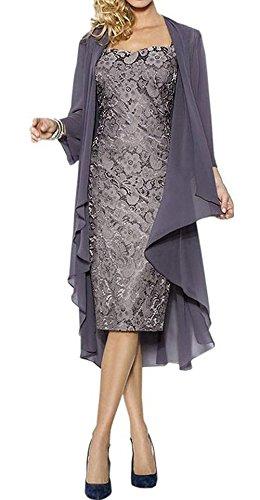 Judy Ellen Women Long Mother Of The Bride Dress With Jacket J107LF Dark Gray US18W