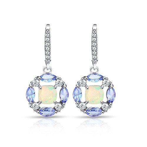 Estate Sterling Silver Earrings - Sterling Silver Ethiopian Opal, Tanzanite and White Topaz Circle Dangle Leverback Earrings