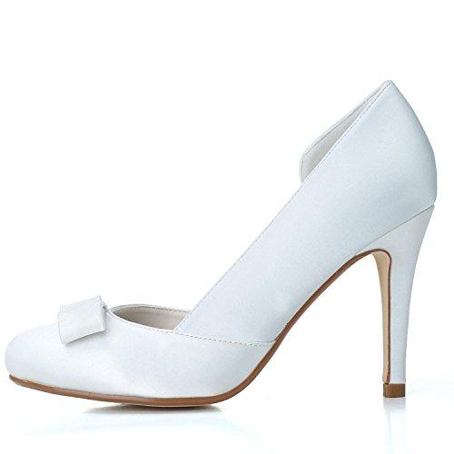 Weiß YC Brautschuhe Schnalle Schuhe mit 5623 L EI Hochzeit Satin Zehe Weibliche Closed 03 Toe 6qwZdB
