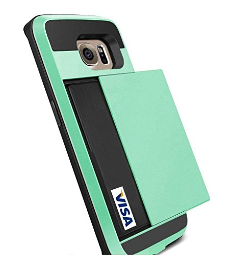 Galaxy S6 Edge Case, Anuck Galaxy S6 Edge Wallet case [Anti Scratch][Heavy Duty][Card Pocket] Dual Layer Shockproof [Soft Rubber Bumper] Hybrid Protective Case for Samsung Galaxy S6 Edge - Mint