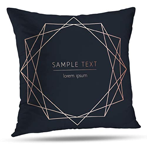 Great Gatsby Invitation Ideas (HAPPYOME Rose Gold Decorative Throw Pillow Covers, Modern Birthday Invitation Brochure Business Square Art Cushion Cover for Bedroom Livingroom Sofa 18X18 Inches(Old)