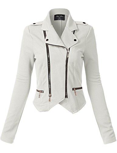 Luna Flower Women's Stylish Long Sleeve Double Zip Moto Jackets OFFWHITE Large (GJAW136) by Luna Flower (Image #5)