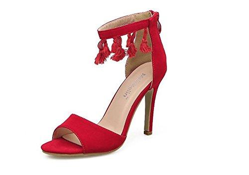 Toe Heel Sandals Wheeler Women Stilettos Sandals Women High Open Pump Toe Fashion Heel Pump Dress Red Queena Shoes Open w6fAqw