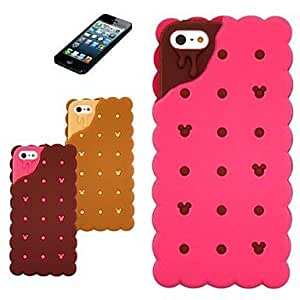 3D Sandwich Biscuit Design Silicon Rubber Case for iPhone5/5s ,Color Brown
