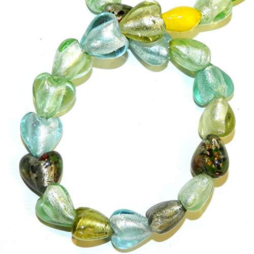 Beads Silver Foil Lampwork Heart - Heart Silver Foil Lampwork Glass Bead 15