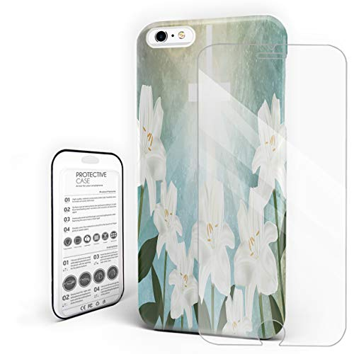 Holy Light Crucifix and White Lily Flower Phone Case Compatible with iPhone 6 Plus and iPhone 6s Plus, Slim Shock Absorption Hard Plastic Phone Cover with Tempered Glass Screen Protector
