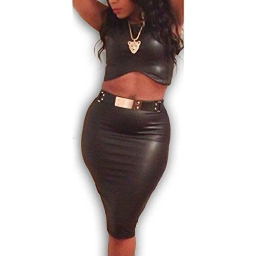9200 - Sexy Bodycon Belted 2-Piece Club Midriff - Leather Belted Dress