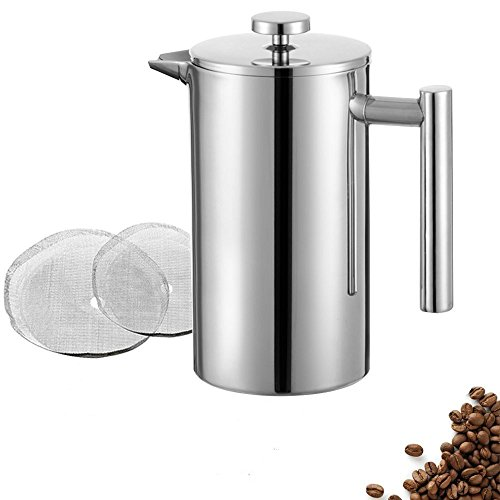 Review Of Meelio French Press Coffee Maker, 1.5L/50 OZ Double Wall Stainless Steel Cafetiere, Heat R...