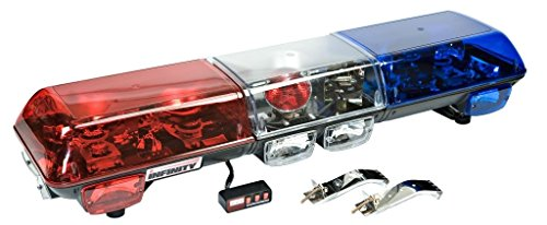 (Wolo (7015-BR) Infinity 1 Halogen Emergency Warning Light Bar - Red Lens Left Side, Blue Lens Right Side, Roof Mount)