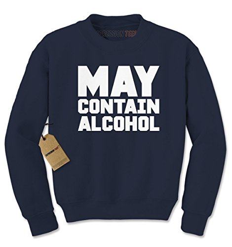 Crew May Contain Alcohol Adult Medium Navy Blue (Alcohol Sweatshirt)