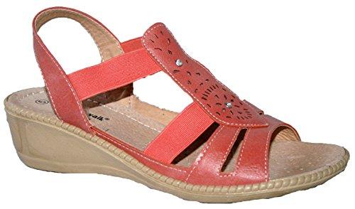 Cushion Walk - Sandalias de vestir de Material Sintético para mujer Coral