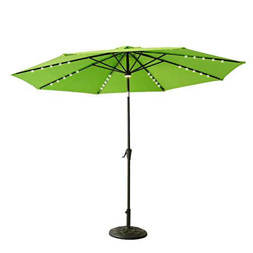 Push Button Crank Lift (FLAME&SHADE 10 foot Solar Power LED Lights Outdoor Market Patio Umbrella with Crank Lift, Push Button Tilt, Apple Green)