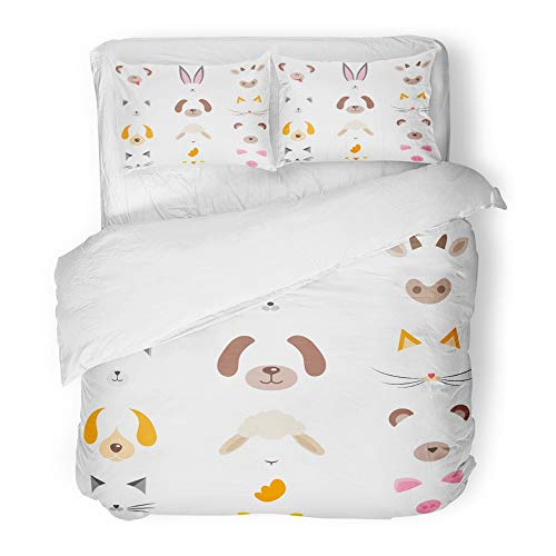 Emvency 3 Piece Duvet Cover Set Brushed Microfiber Fabric Breathable Cow of Cute Cartoon Animal Masks Head Nose Sheep Avatars Baby Cat Character Bedding Set with 2 Pillow Covers Full/Queen Size -