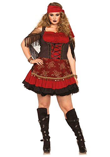 Halloween Gypsy Costumes Womens (Leg Avenue Women's Plus-Size Mystic Vixen Costume, Burgundy/Black,)
