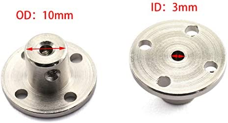 HJ Garden 2pcs 3mm Flange Shaft Coupling High Hardness Metal Flanged Joint Guide Shaft Support Coupler for DIY Model Shaft Connection