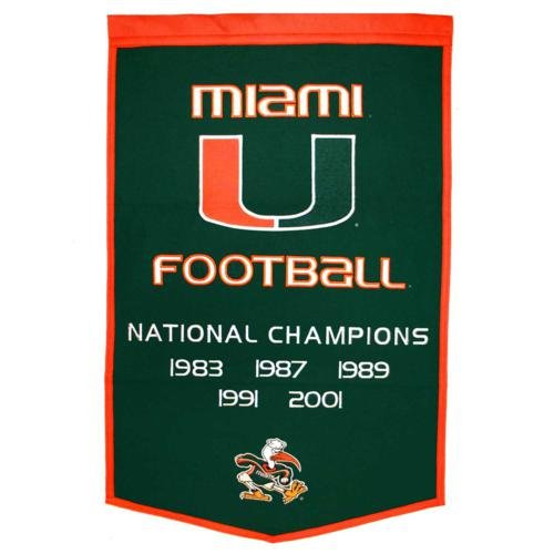 - Miami Hurricanes Football Championship Dynasty Banner - with hanging rod