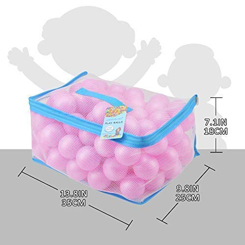Lightaling 100pcs Pink Ocean Balls & Pit Balls Soft Plastic Phthalate & BPA Free Crush Proof - Reusable and Durable Storage Mesh Bag with Zipper by Lightaling (Image #6)