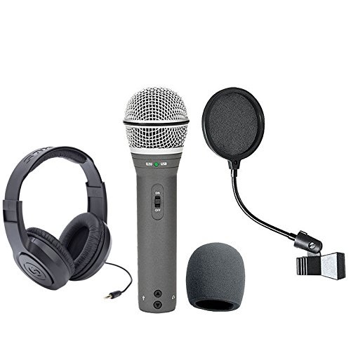 Samson Q2U Recording and Podcasting Pack with USB/XLR Dynamic Microphone + Samson SR350 Over-Ear Stereo Headphones + Pop Filter & Foam Windscreen (Samson Stereo Mic)