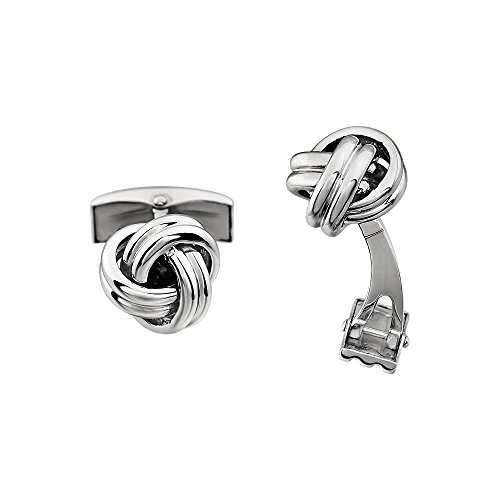 12mm Polished Knot Cuff Links in 14K White Gold