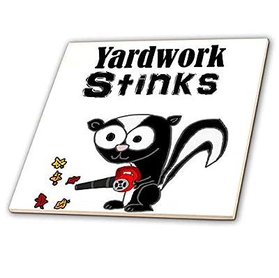 3dRose All Smiles Art - Funny - Cute Funny Yardwork Stinks Skunk Using Leaf Blower Cartoon - Tiles