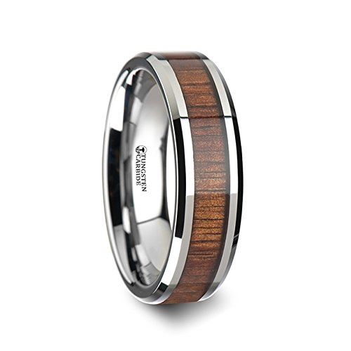 THORSTEN - KONA Tungsten Carbide Wedding Ring with Koa Wood Inlay and Polished Beveled Edges Comfort Fit Lightweight Durable Wooden Wedding Band - 6mm