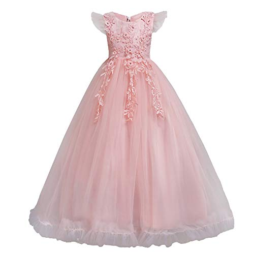 Good Costumes For Girls (HUAANIUE Girls Pageant Party Long Dresses Flower Girl Wedding Dress Pink 7-8)
