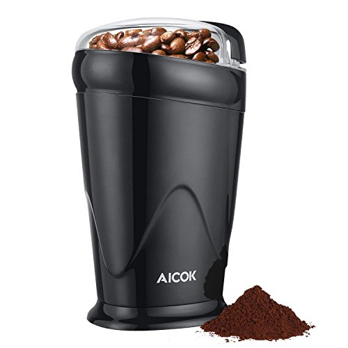 Electric Coffee Grinder  Aicok, Blade Coffee Grinder Stainless Steel,  Spice Grinder for Coffee Beans, Spices, Nuts and Grains, 60g, 150W, Black