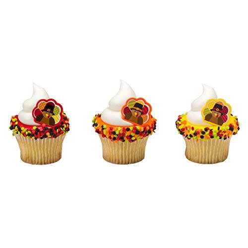 Thanksgiving Turkey Cupcake Topper Rings - 24 pc