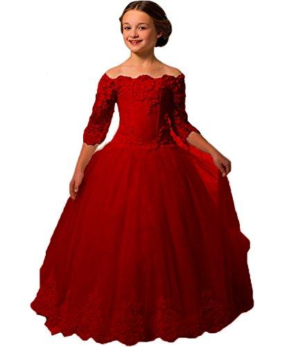 Pagent Dresses For Kids (Girls Three Quarter Sleeves Flower Girl Dresses For Wedding)