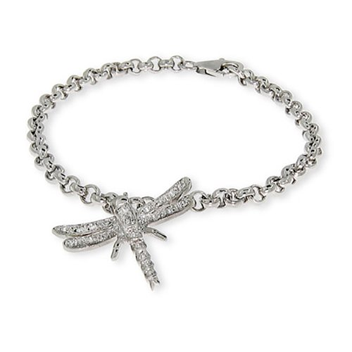 Sterling Silver CZ Dragonfly Charm Bracelet, 7 (Sterling Silver Dragonfly Bracelets)