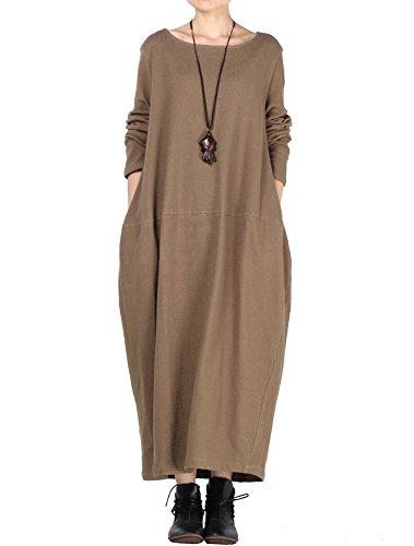 Mordenmiss Women's Knit Sweater Dress Long Sleeve Baggy Shift Pullovers (XL,Light Coffee) (Cotton Knit Long Dress)