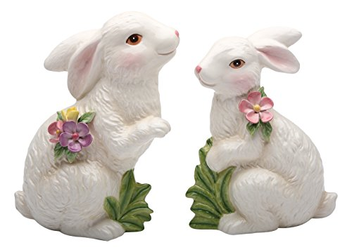 StealStreet SS-CG-10280, 7.25 Inch Porcelain Painted White Bunny Figurines, Set of 2
