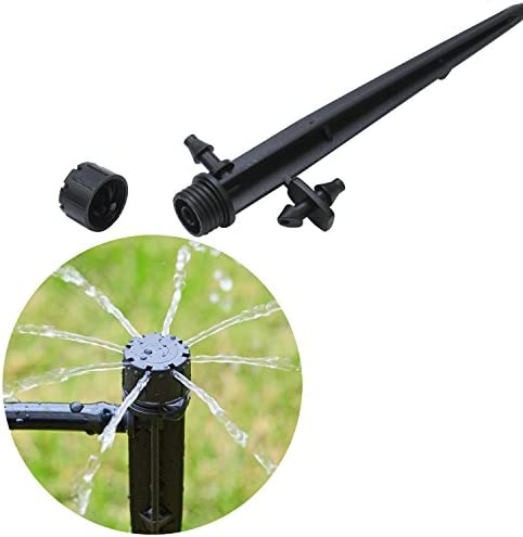 Elcoho 60 Pack Adjustable Irrigation Drippers 360 Degree Water Flow Irrigation Drippers Connector for 4//7 MM Tube with Storage Bag