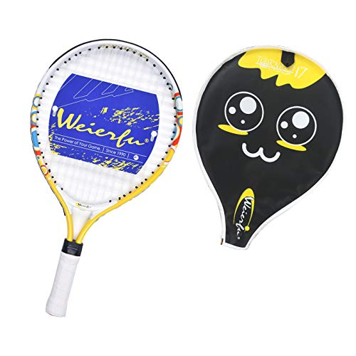 Weierfu Junior Tennis Racket for Kids Toddlers Starter Racket 17 with Cover Bag Light Weight(Strung) (Best Tennis Racquet For Kids)
