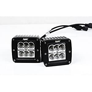 2x Avec 18w Cube Work Light - FLOOD Beam LED Kit w/ Wiring Harness 2520 lm Cree LED Flood Driving Fog Light Spot Work Light Bar Mounting Bracket for SUV Boat 4 x 4 Jeep Lamp dually 18w Cubes