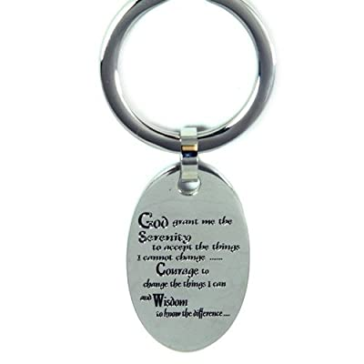 Serenity Prayer keychain (use for car keys or house keys) Stainless steel key chain / key ring for men, women, ladies, boys or girls.