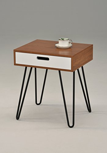 Dark Oak / White Side End Table Nighstand Metal Legs with One Drawer 24