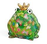 Pomme pidou Freddy Frog XXXL Ceramic Art Money Bank, Dk Green & Butterfly Floral