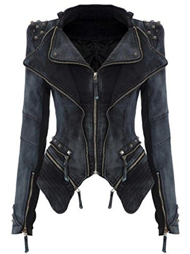 Hufcor Women Slim Fit Studded Denim Jacket Punk Lapel Tuxedo Zipper Moto Blazer Jacket
