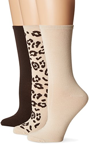 No Nonsense Women's Leopard Flat Knit Crew Socks 3-Pack, Assorted 2, - Brown Prints