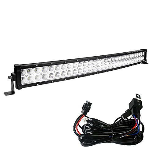 Hazard Light Wiring (YITAMOTOR 32 inch Curved LED Light Bar Offroad Lights + Free Wiring Harness for Truck, Jeep, 4WD, 4X4 ATV UTE SUV, Boat, 180W Fog Driving Light)