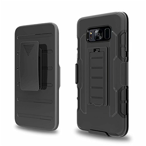 (Galaxy S8 Case, Telegaming Heavy Duty Hybrid Shockproof Armor Case Belt Swivel Clip Holster Cover With Screen Protector For Samsung Galaxy S8 Black)