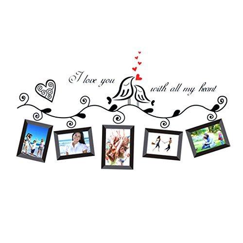 eDealMax corazones de los pájaros del amor de la familia de Marcos de la foto etiqueta de la pared removible DIY arte de la pared del vinilo de la decoración de la sala de estar Oficina Dormitorio (Que Es El Medio Ambiente Para Ninos)