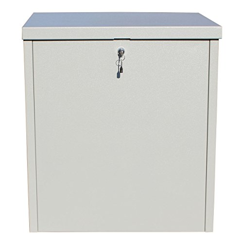 (Qualarc PCSDB-LG Parcel Chest Secure Locking Delivery Box Made of Galvanized Steel, Textured Gray, Large)