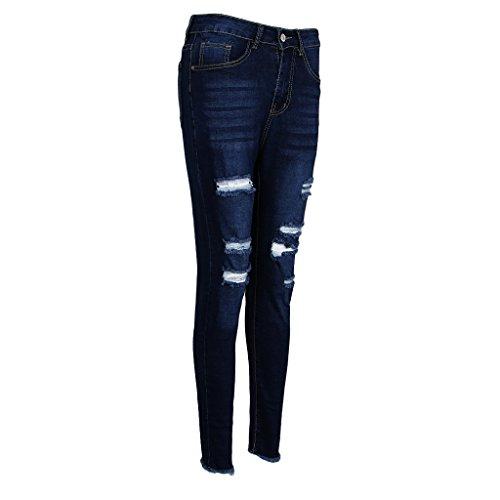 MagiDeal Jeans Taille Haute Slim Trou Vtement Mode de Femme Bleu