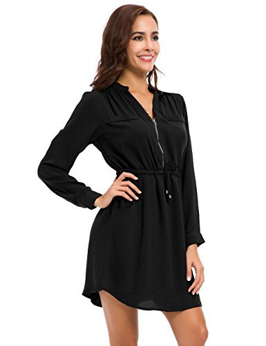 l Chiffon Shirt Dress Long Sleeve Drawstring Roll-up Blouses Front Zipper Pocket (Black Zipper Dress)