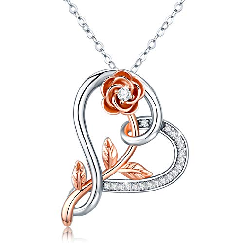 MEDWISE S925 Rose Necklace Sterling Silver Infinity Love Heart Flower Necklace Pendant Endless Love Jewelry Gifts for Women